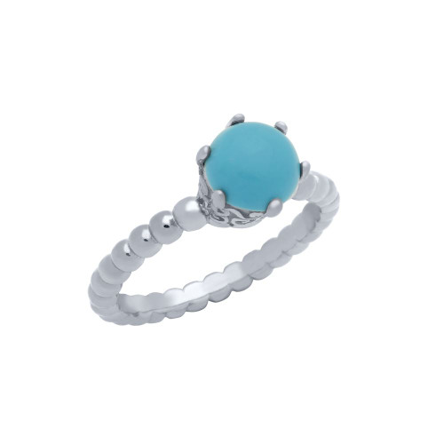RHODIUM PLATED BEAD DESIGN RING WITH 5MM PRONG SET CABOCHON TURQUOISE