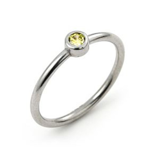3MM SWAROVSKI YELLOW CZ BEZEL SET STACKABLE BAND RING