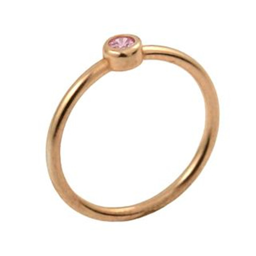 ROSE GOLD PLATED 3MM SWAROVSKI PINK CZ BEZEL SET STACKABLE BAND RING
