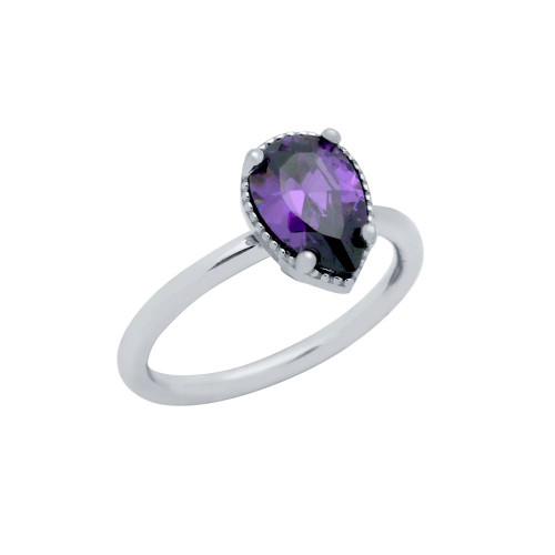 RHODIUM PLATED PURPLE TEARDROP CZ RING