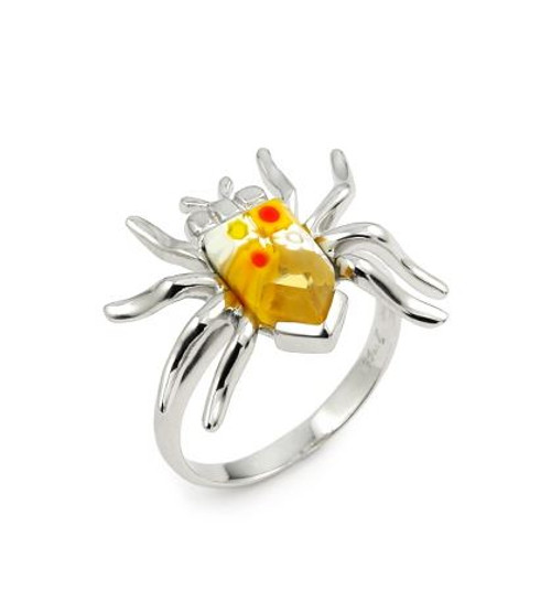 MURANO MILLEFIORI YELLOW FACETED SPIDER RING