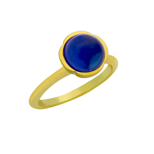 GOLD PLATED RING WITH 8MM CABOCHON SAPPHIRE