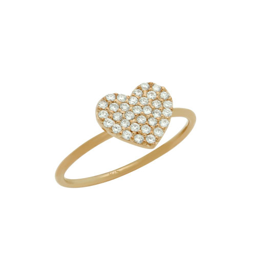 ROSE GOLD PLATED PAVE CZ HEART STACKABLE RING