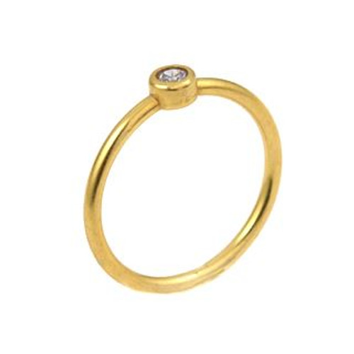 3MM SWAROVSKI LAVENDER CZ BEZEL SET GOLD PLATED STACKABLE BAND RING