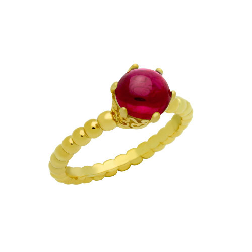 GOLD PLATED BEAD DESIGN RING WITH 5MM PRONG SET CABOCHON RUBY
