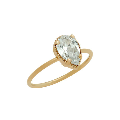 ROSE GOLD PLATED CLEAR 6X9MM TEARDROP CZ RING