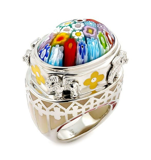 EXQUISITE COLLECTION FACETED MULTI COLOR MURANO GLASS OVAL RING WITH LION ACCENTS