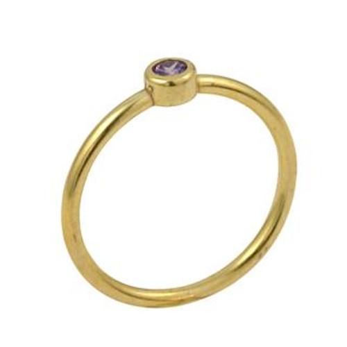 GOLD PLATED 3MM PURPLE SWAROVSKI CZ STACKABLE BAND RING