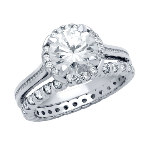 RHODIUM PLATED ROUND CZ STUDDED DESIGN RING AND XO ETERNITY BAND WEDDING SET