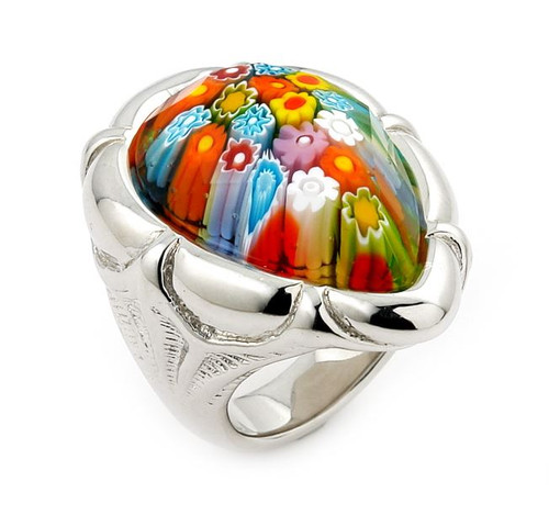 MURANO MILLEFIORI MULTICOLOR FACETED PEAR SHAPE RING WITH ELECTROFORM SILVER FRAME
