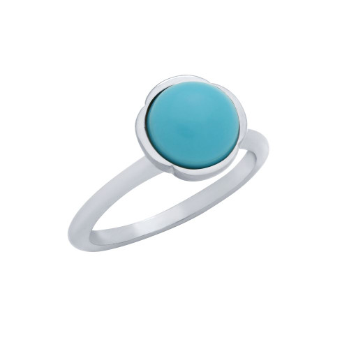 RHODIUM PLATED RING WITH 8MM CABOCHON TURQUOISE