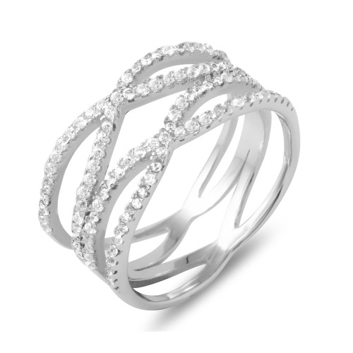 "RHODIUM PLATED DOUBLE ""X"" CZ RING"