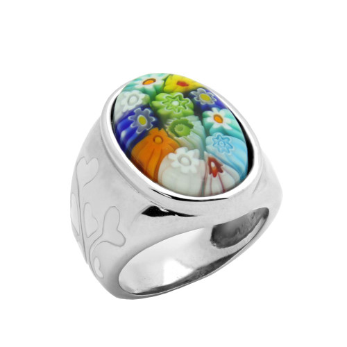 WHITE AND MULTI COLOR OVAL MILLACRELI RING