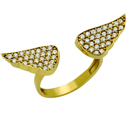 GOLD PLATED CZ ANGEL WINGS ADJUSTABLE RING