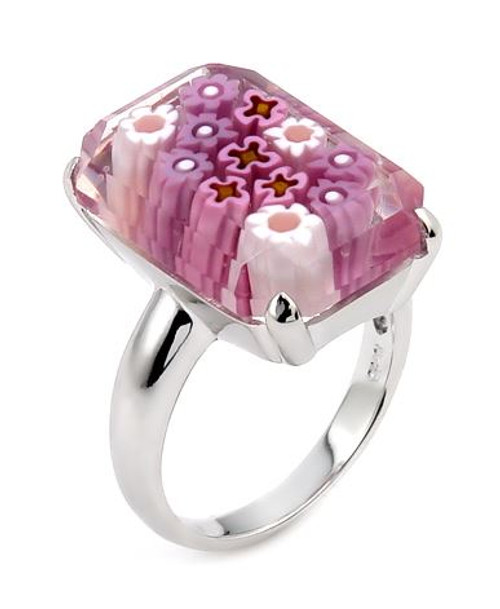 MURANO MILLEFIORI FACETED PINK 14X20MM SMALL RECTANGULAR SHAPE RING
