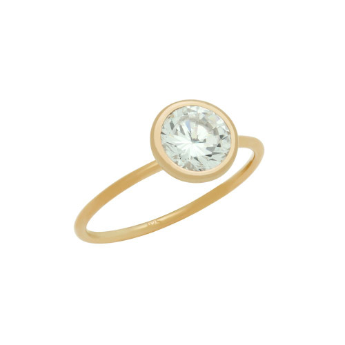 ROSE GOLD PLATED 7.5MM BEZEL SET CZ STACKABLE RING