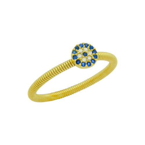 GOLD PLATED CLEAR AND BLUE CZ ROUND EYE STACKABLE RING