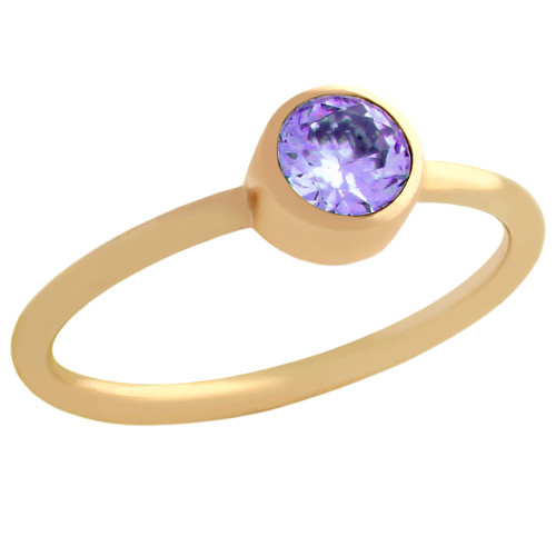 ROSE GOLD PLATED 5MM PURPLE SWAROVSKI CZ STACKABLE BAND RING