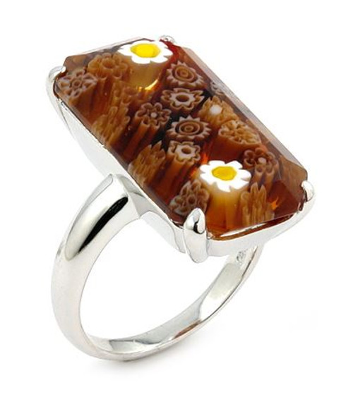 MURANO MILLEFIORI FACETED BROWN 14X25MM SMALL RECTANGULAR SHAPE RING