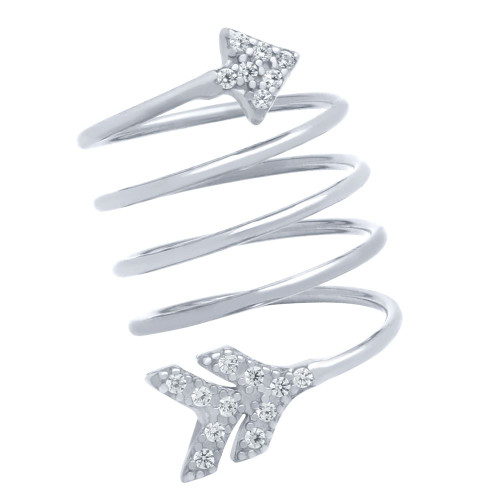 "RHODIUM PLATED SPIRAL ""SPRING RING"" WITH CZ PAVE ARROW HEAD AND TAIL"