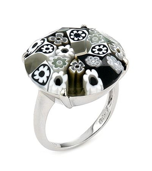 MURANO MILLEFIORI FACETED 20MM BLACK AND WHITE RING