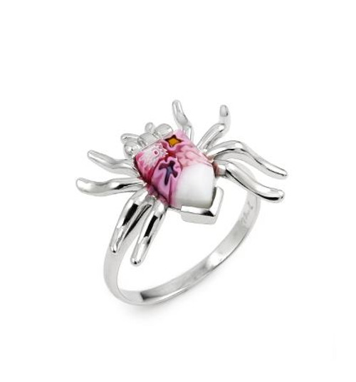 MURANO MILLEFIORI PINK FACETED SPIDER RING