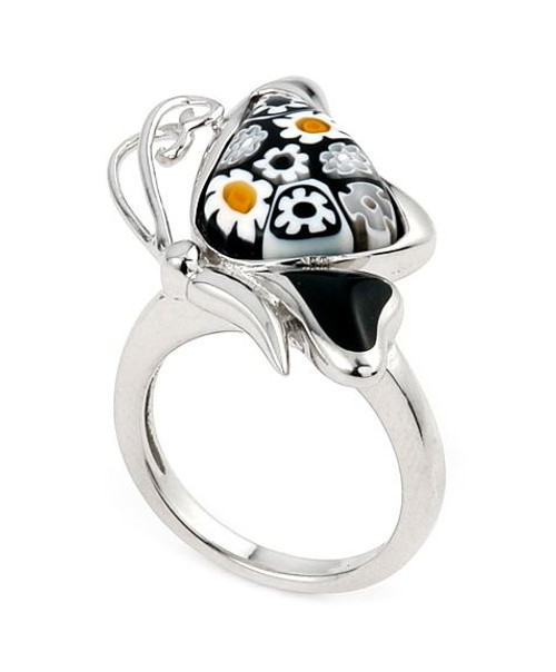 BLACK AND WHITE MURANO MILLEFIORI BUTTERFLY ANIMAL SIDEWAYS RING