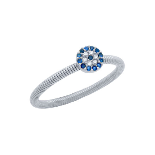 RHODIUM PLATED CLEAR AND BLUE CZ ROUND EYE STACKABLE RING