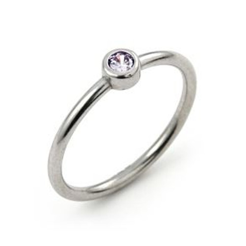 3MM SWAROVSKI LAVENDER CZ BEZEL SET STACKABLE BAND RING