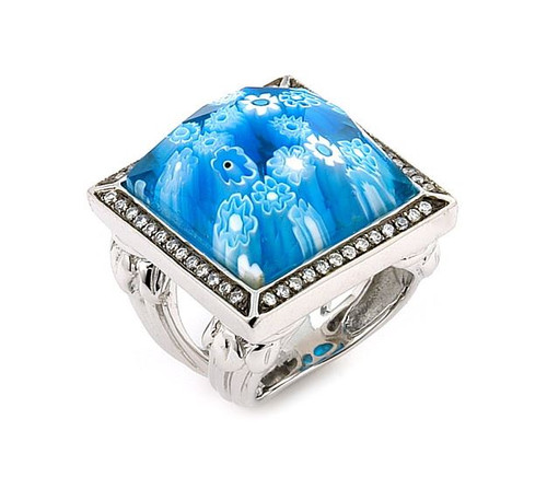 EXQUISITE COLLECTION SQUARE RING WITH HIGH QUALITY CZ MICROSETTING