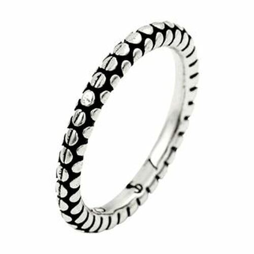 PLAIN SILVER CIRCLE PATTERN STACKABLE BAND RING