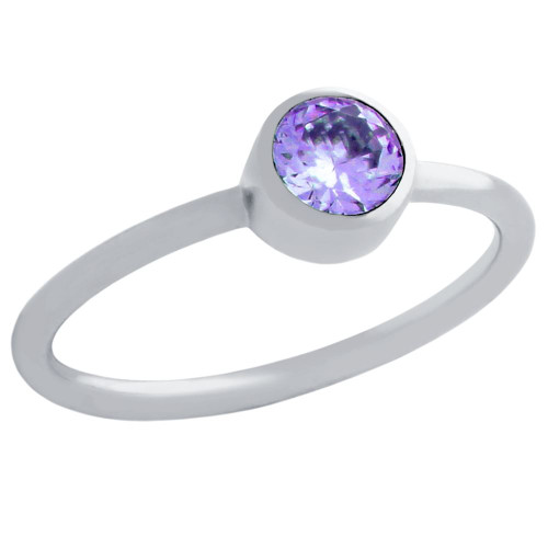 5MM SWAROVSKI PURPLE CZ BEZEL SET STACKABLE BAND RING