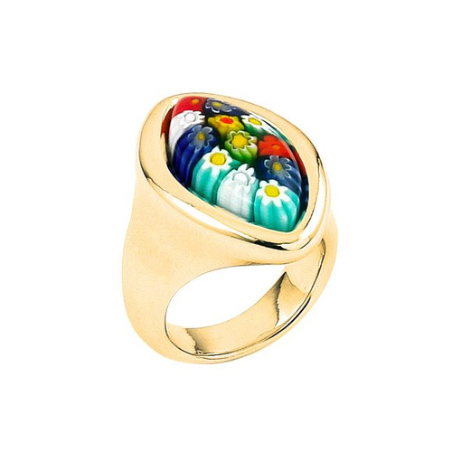 GOLD PLATED MURANO MILLEFIORI MULTICOLOR MARQUISE RING WITH ELECTROFORM SILVER FRAME