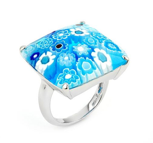 MURANO MILLEFIORI FACETED LIGHT BLUE 22x22MM SQUARE RING