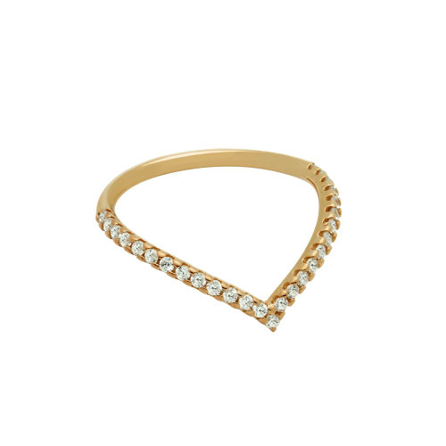 "ROSE GOLD PLATED ETERNITY ""V"" CHEVRON STACKABLE CZ BAND"