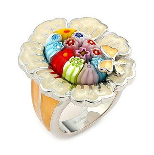 MULTI-COLOR MILLACRELI FLOWER RING
