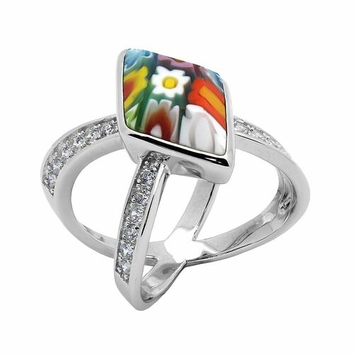 "MULTICOLOR MURANO MILLEFIORI DIAMOND-SHAPED CZ ""X"" RING"