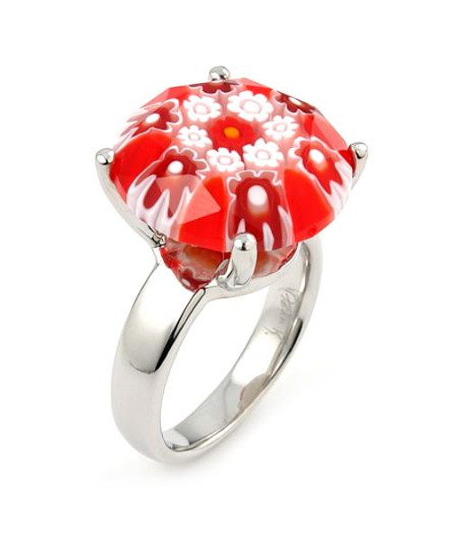EXQUISITE COLLECTION FACETED RED MURANO GLASS SMALL ROUND RING