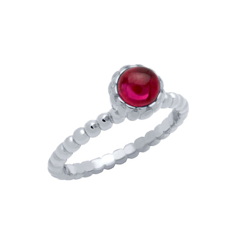 RHODIUM PLATED BEAD DESIGN RING WITH 5MM CABOCHON RUBY