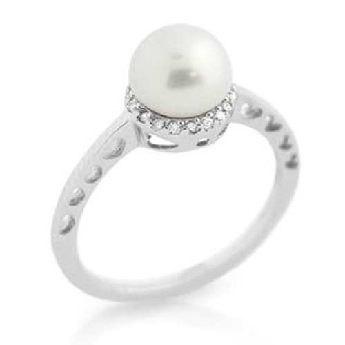 RHODIUM PLATED FRESHWATER PEARL AND SURROUNDING CZ RING WITH HEART CUTOUTS