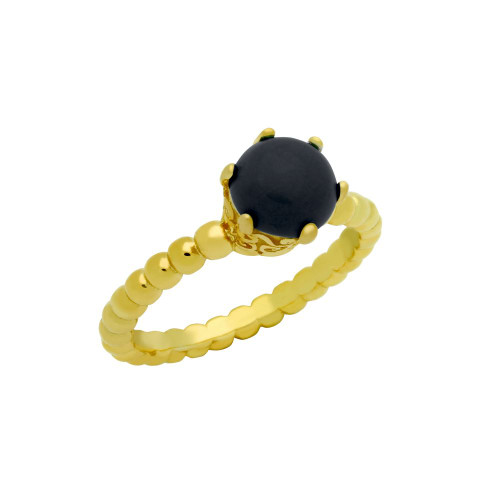 GOLD PLATED BEAD DESIGN RING WITH 5MM PRONG SET CABOCHON ONYX