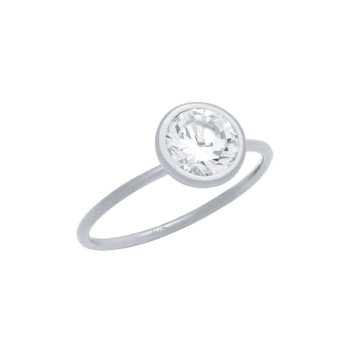 RHODIUM PLATED 7.5MM BEZEL SET CZ STACKABLE RING