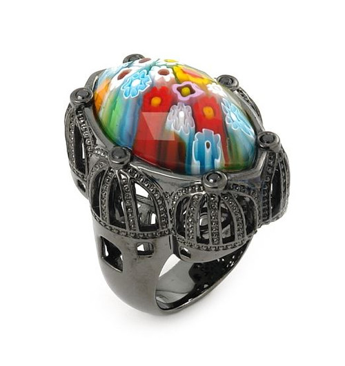 EXQUISITE COLLECTION FACETED MULTI COLOR MURANO GLASS MARQUISE SHAPE RING WITH BLACK RHODIUM FINISH