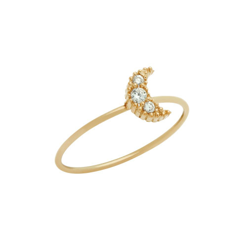 ROSE GOLD PLATED PAVE CLEAR CZ MOON STACKABLE RING