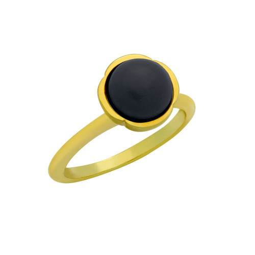 GOLD PLATED RING WITH 8MM CABOCHON ONYX
