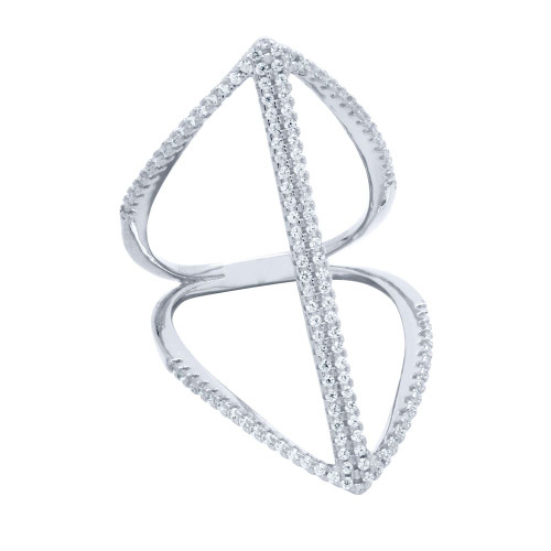RHODIUM PLATED SPLIT-SHANK DOUBLE BAR MICRO PAVE CZ RING