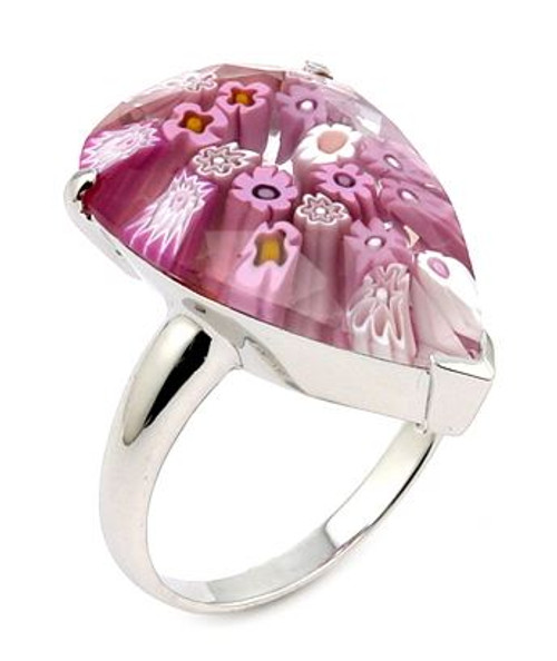 MURANO MILLEFIORI FACETED PINK 14x22MM DROP SHAPE RING