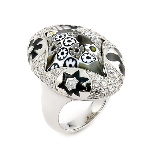 EXQUISITE COLLECTION FACETED BLK /WHT DIAMOND SHAPE MURANO GLASS RING WITH HIGH QUALITY CZ MICROSETTING