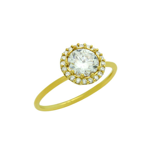 ROUND CZ RING GOLD PLATED