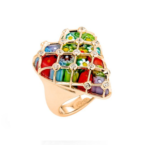 GOLD PLATED MULTICOLOR MURANO MILLEFIORI HEART SET IN SILVER AND CZ CAGE RING